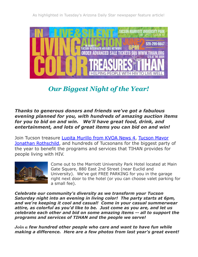 E-Newsletter May 2018 | TIHAN - Tucson Interfaith HIV/AIDS